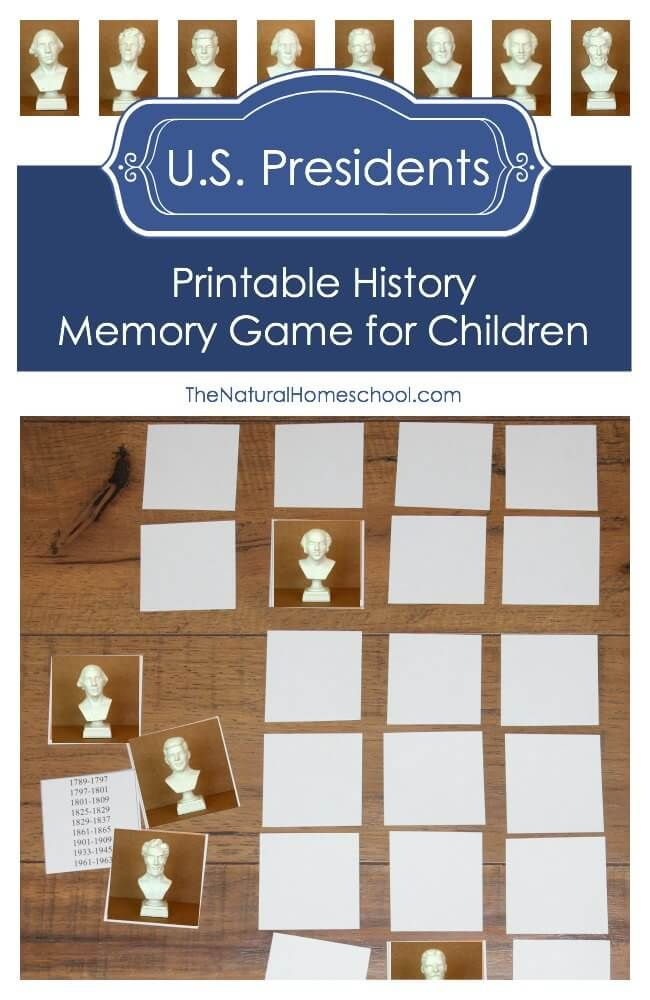 Here is a printable History Memory Game for children about some of the U.S. Presidents. It includes some facts and a list of the 8 Presidents.