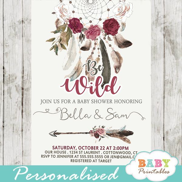 Boho Burgundy Dream Catcher Baby Shower Invitations D328