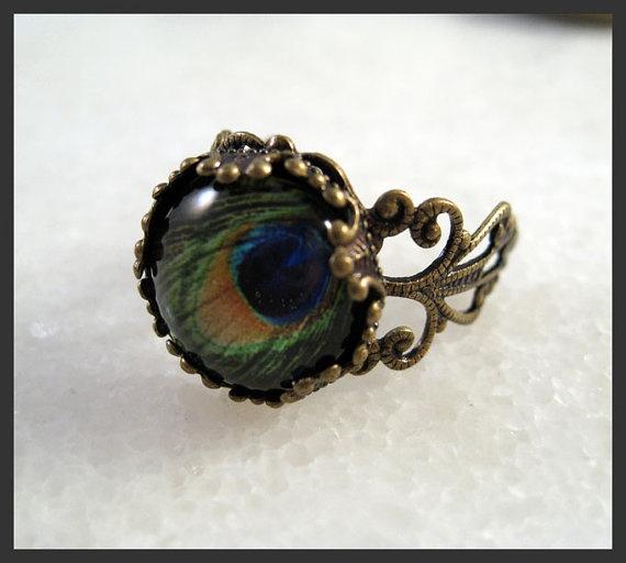Peacock Tail Eye Vintage Ring Brass Filigree Side: Peacock Tail, Peacocks, Brass Filigree, Vintage Rings, Tail Eye, Eyes