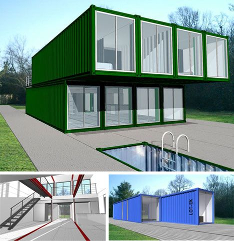 Lot-Ek is always on the cutting edge of strange and interesting architectural designs so it is no wonder they have their own visions of shipping container houses. Their solutions rely on a relatively simple external configuration that provides for more complex spatial possibilities on the interior of their structures. They are fully equipped with everything one would want in a home and lacking no luxury.
