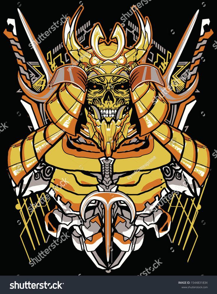 yellow robot samurai warrior sacred geometry