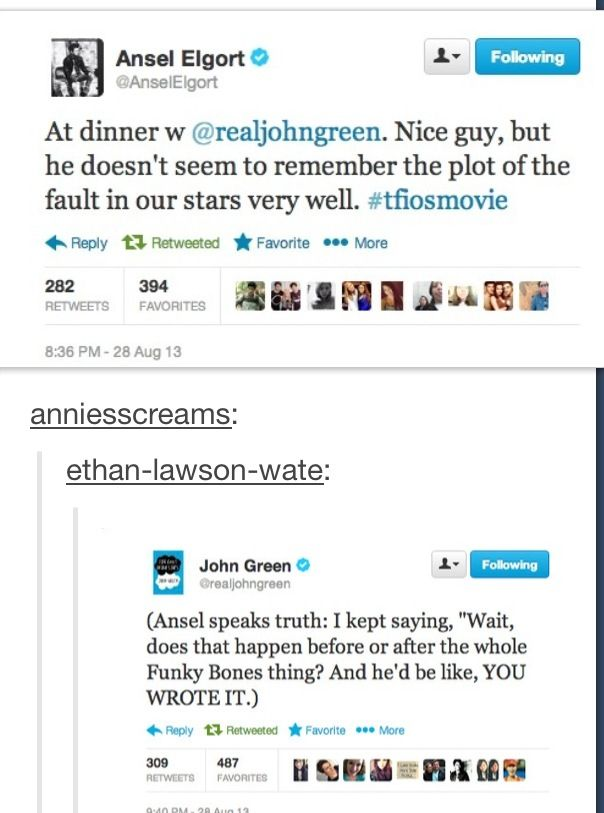 Ladies and Gentlemen  John Green.  The Award winning and New York Times best selling author who can't remember the scene sequence of his own book. This is the man who inspires me.
