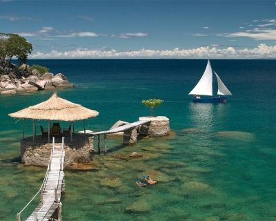 The African Great Lake Malawi Sprawling Over Three Countries
