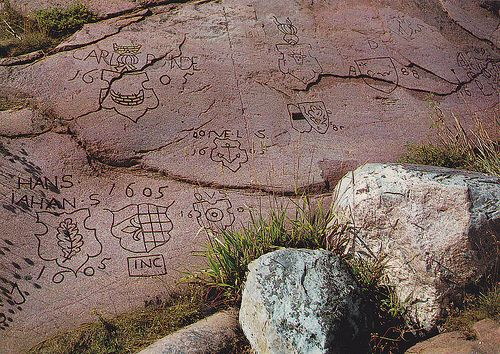 Hanko, Finland seafarers engravings as they would wait out the storms.  Over 600 carvings have been found along the coast of Hanko depicting there name or family coats