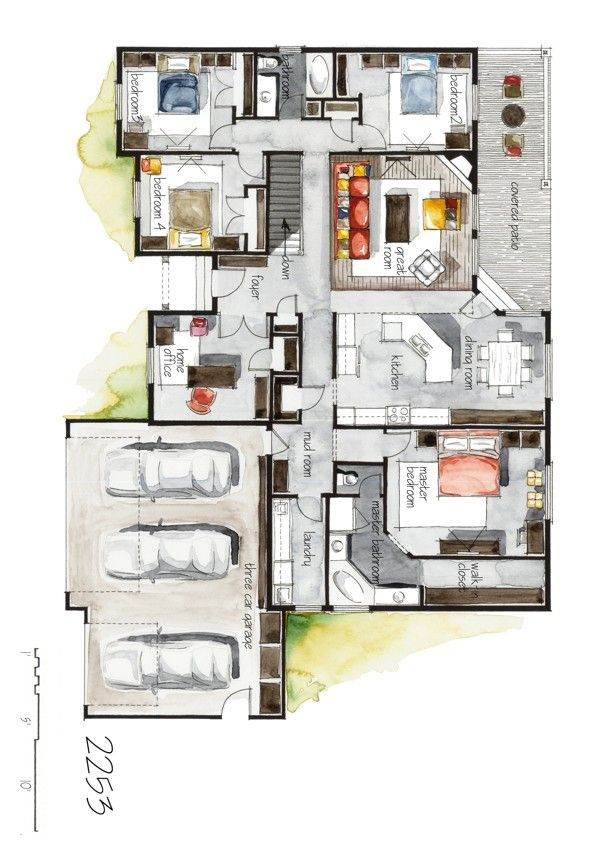 Real Estate Color Floor Plan and Elevation 6 by Boryana, via Behance