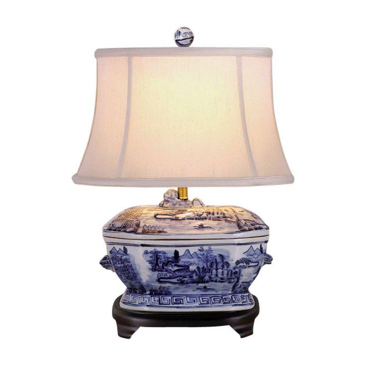 "Blue and White Porcelain Landscape Tureen Table Lamp 21"""