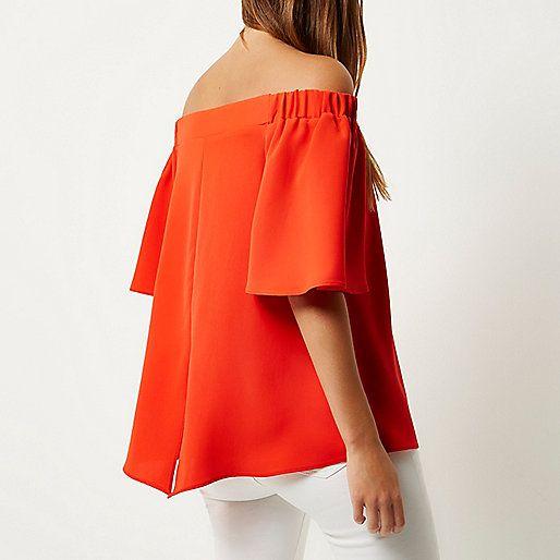 Red bardot top - bardot / cold shoulder tops - tops - women