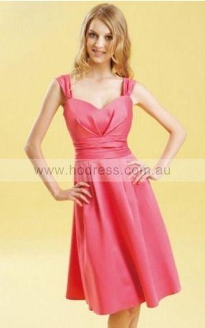 Satin Shoulder Straps Natural A-line Knee-length Bridesmaid Dresses 0740124--Hodress