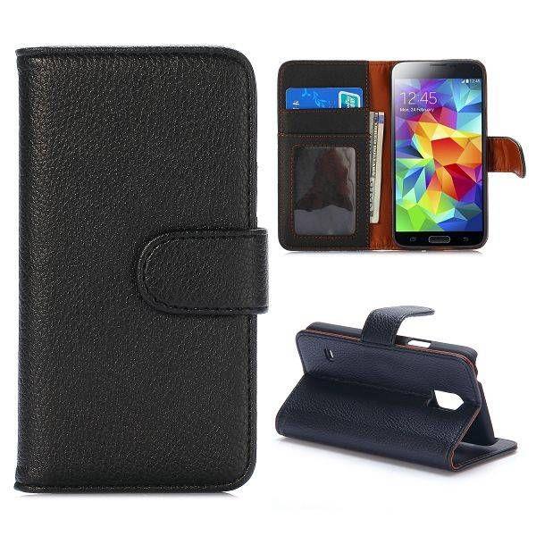 Lychee zwart bookcase hoes voor Samsung Galaxy S5 mini
