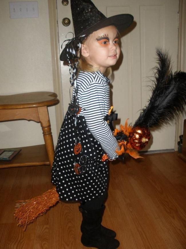 Homemade witch costume for girls.