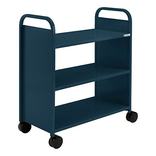 "Smith System - Flat Shelf Book Truck w/ Three Shelves (36"" W)- Navy  //Price: $ & FREE Shipping //    #office #officelife #officeview #officeworks #myoffice #officegirl #officetime #officework"