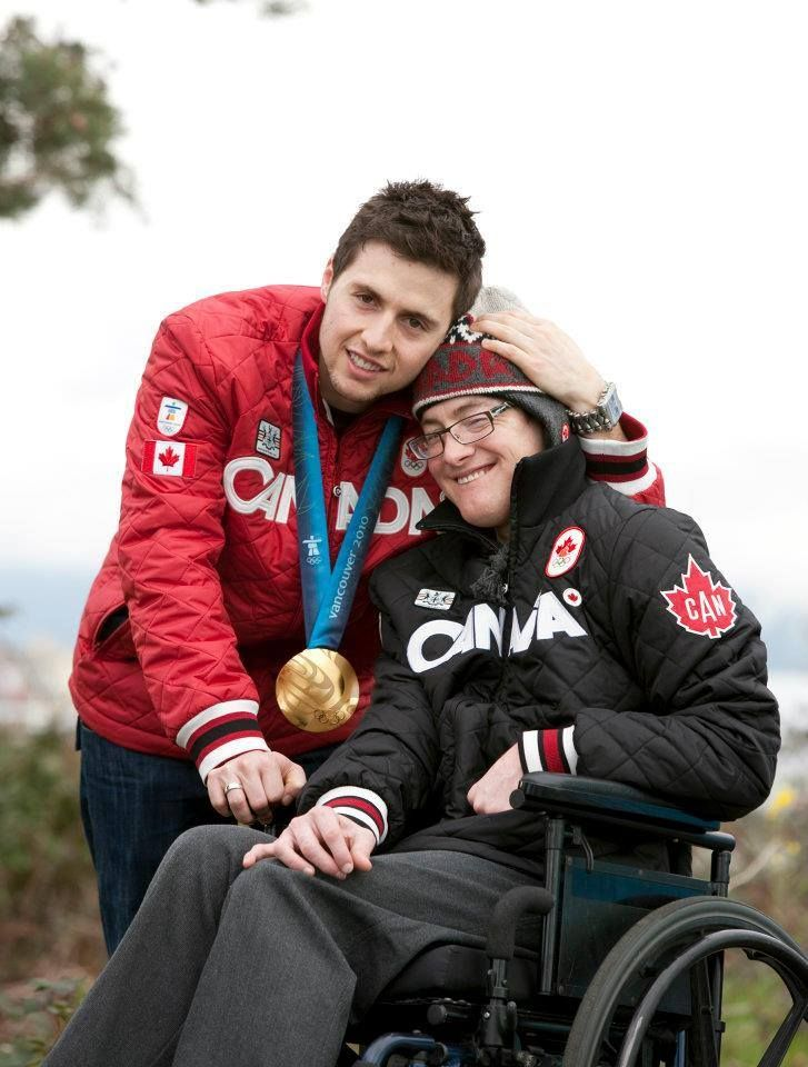 Canadian Olympic moguls skier Alexandre Bilodeau, and his brother, Frédéric. Frédéric has cerebral palsy, but is always there in the stands to cheer his brother on.