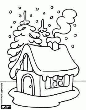desenho de Pequena casa na neve para colorir