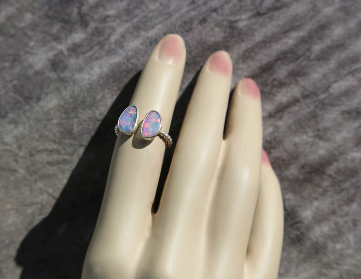 Twins Opal Stacking Ring, Australian Opal Doublet Ring, Sterling Opal Ring, Sterling Opal Doublet Ring, Sterling Ring by AtThursday on Etsy https://www.etsy.com/listing/214488005/twins-opal-stacking-ring-australian-opal