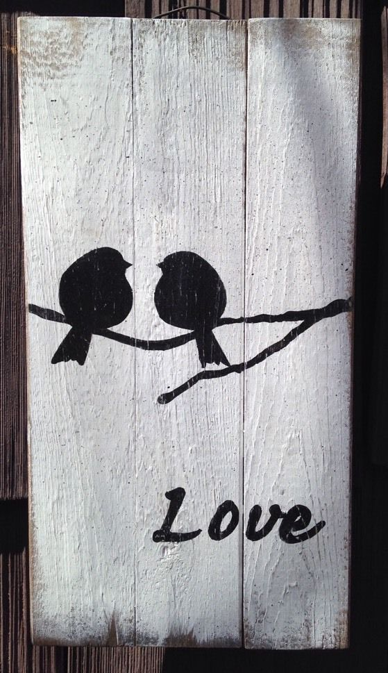 Love Bird Pallet Sign Pallet Primitive Rustic Country Picture Wall Decor Wood   eBay