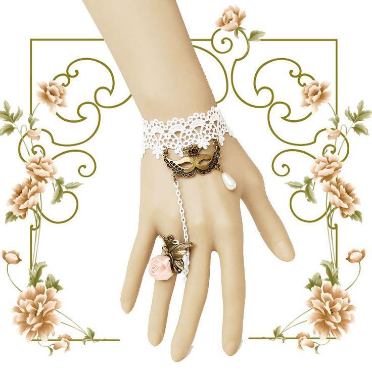 Принцесса Сладкий Лолита браслет Маска королева урожай белые кружева браслет ер ен ос набор невесты аксессуары свадебные украшения WS-235
