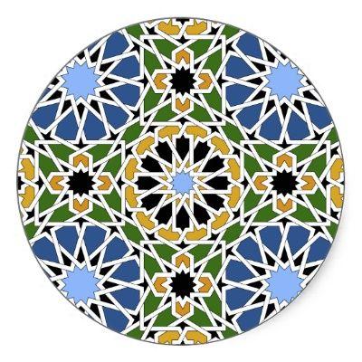 Moorish tile round stickers