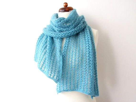 knit mint scarf lace scarf handknit winter scarf for her