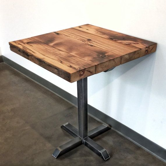 Reclaimed Wood and Steel Pedestal Pub Table by WageofLabor on Etsy