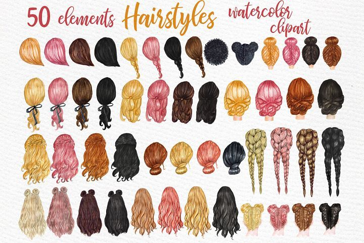 Girl Women Hair Smile Clipart Set Of 5 Various Color Hand Drawn Fashion Woman With Messy Bun Hair Clipart Instant Womens Hairstyles Girl Hairstyles Clip Art