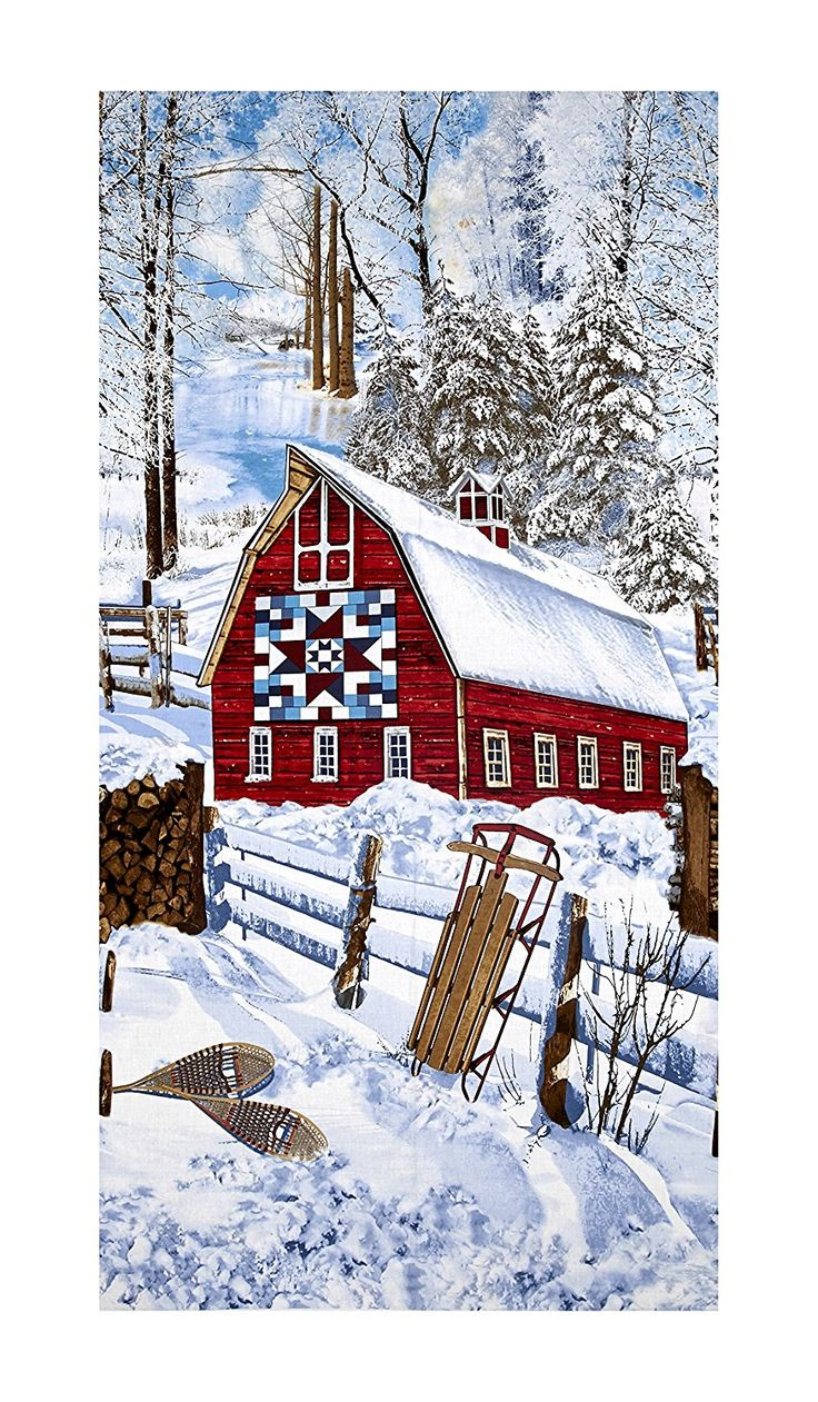 Timeless Treasures Country Holiday Winter Barn Scene Snow