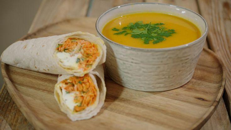 Wortelsoep met tijm & wrap met wortel en geitenkaas | Dagelijkse kost