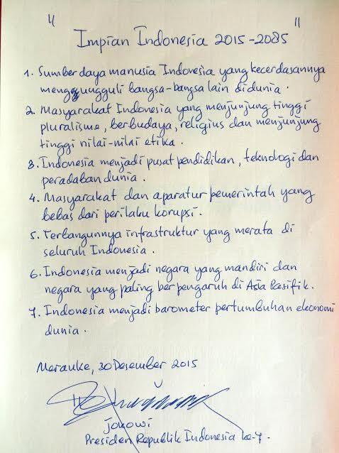 Tulisan Tangan Jokowi Tentang Impian Indonesia 2015-2085