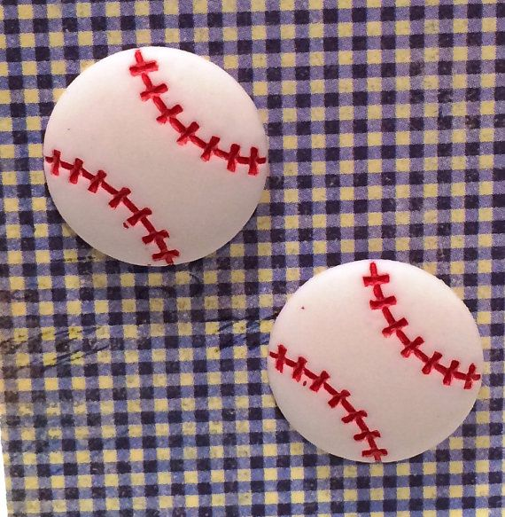"Are you ready for some Fun in the sun and Baseball games.... wear these stylish earrings. (posts only).over all length 3/4""  by RockinRobinsBling, $5.00"