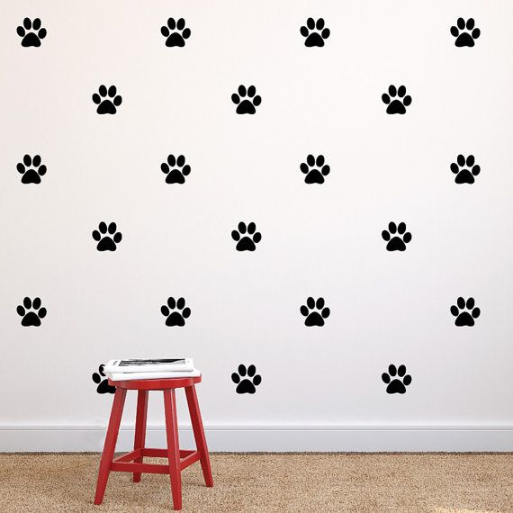 Paw Print Repeatable Pattern Vinyl Wall Decals- Dog Paw Print Removable Wall Stickers Pattern