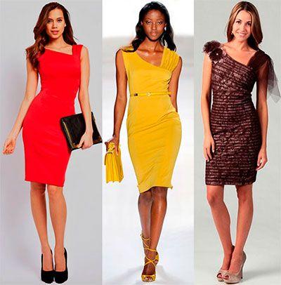 A stylish shift dress with an asymmetrical neckline and drape  free pattern