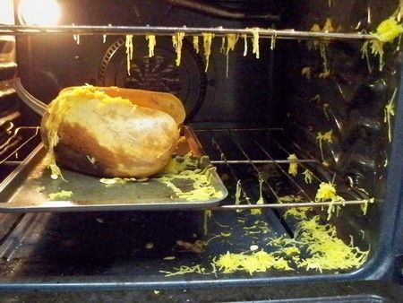 A burst spaghetti squash that wasn't pricked in the oven.