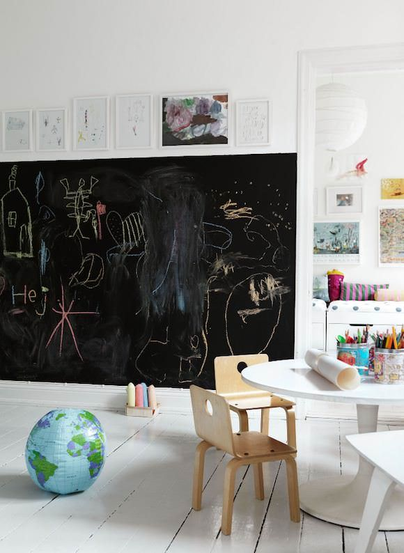 chalkboard wall in kids rooms. When we get a house I am doing this for sure in the kids playroom!