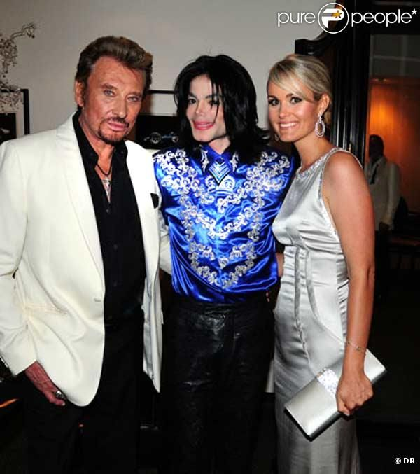 MJ and french singer Johnny Hallyday and wife Laeticia backstage at  Christian Audigier\u0027s 50th Birthday Party