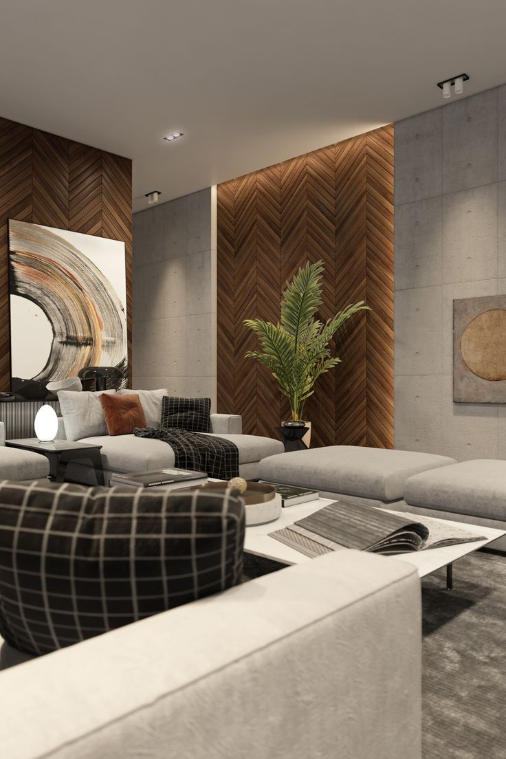 french fir wooden wall panels in interior of living room