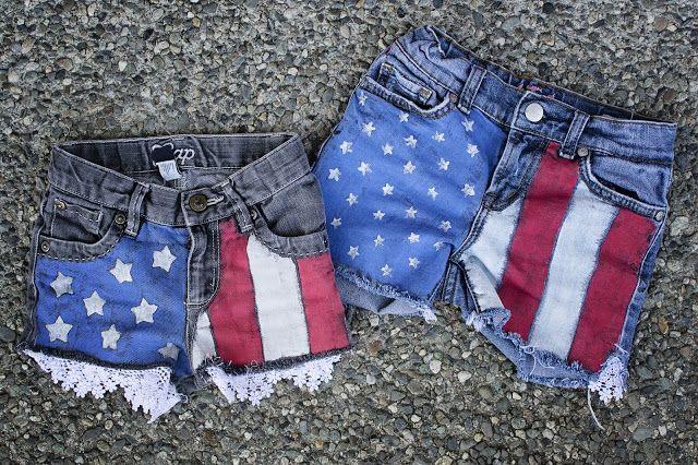 diy flag shorts! - while it rains