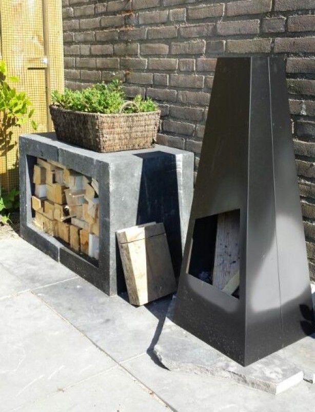 Sfeertje met een leuke buitenhaard een u elementen van betondingen nl daar zijn ze gemakkelijk online te bestellen