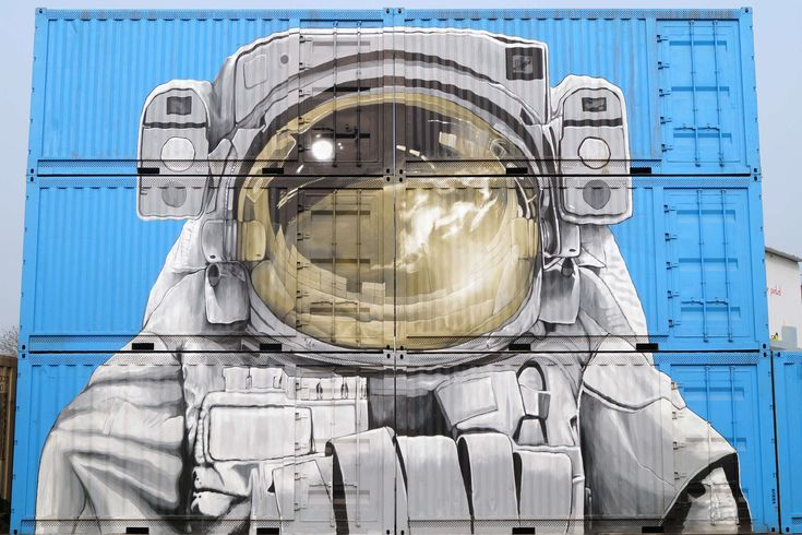 #architecture #art #artistic #astronaut #blue #business #container #creative #design #freight #graffiti #modern #semi trailers #shipping container #transportation system #travel #urban
