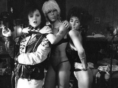 Tiffany Helm & Wendy O Williams on set for Reform School Girls