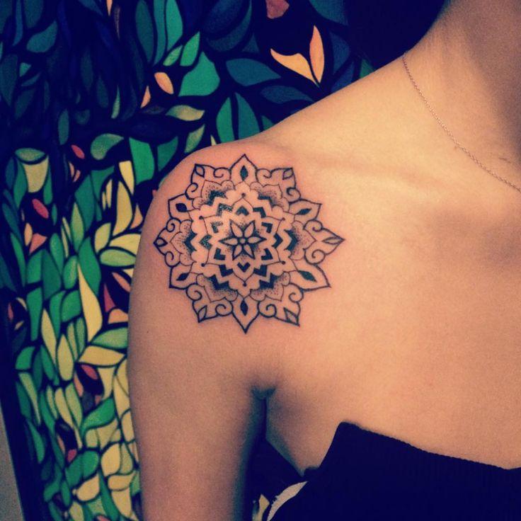 mandala flower shoulder tattoo
