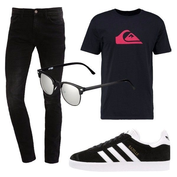 Pantaloni in jeans lunghi, slim fit e neri, t-shirt nera con stampa colorata, sneakers nere e bianche con lacci neri, occhiali da sole neri con lenti a specchio.