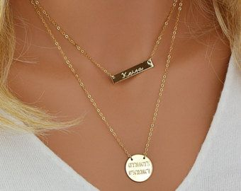 Custom Layered Necklace, Personalized Necklace Layering, Coordinates Disc Necklace, Nameplate Bar Necklace, Engraved Monogram Necklace Gold by malizbijoux. Explore more products on http://malizbijoux.etsy.com