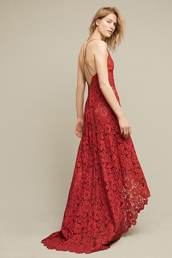 """Stunning """"Finola Lace High-Low Gown"""" special occasion lace dress at Anthropologie. Perfect for Valentine's Day or an anniversary."""