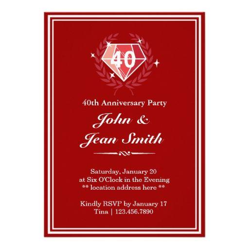 645 besten 40th Anniversary Party Invitations Bilder auf Pinterest