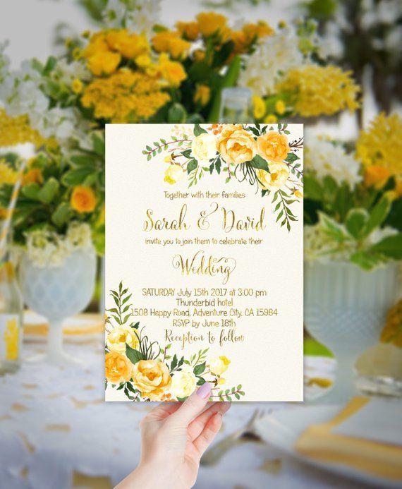 Yellow Floral Wedding Invitation Printable Gold Wedding Invit Yellow Floral Wedding Invitations Floral Wedding Invitations Printable Wedding Invitations Rustic