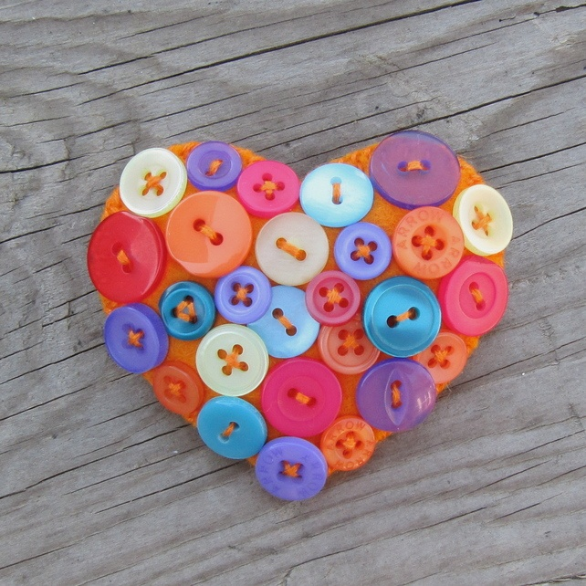Heart brooch - Felt and buttons - 'Fiesta' - or... - Folksy