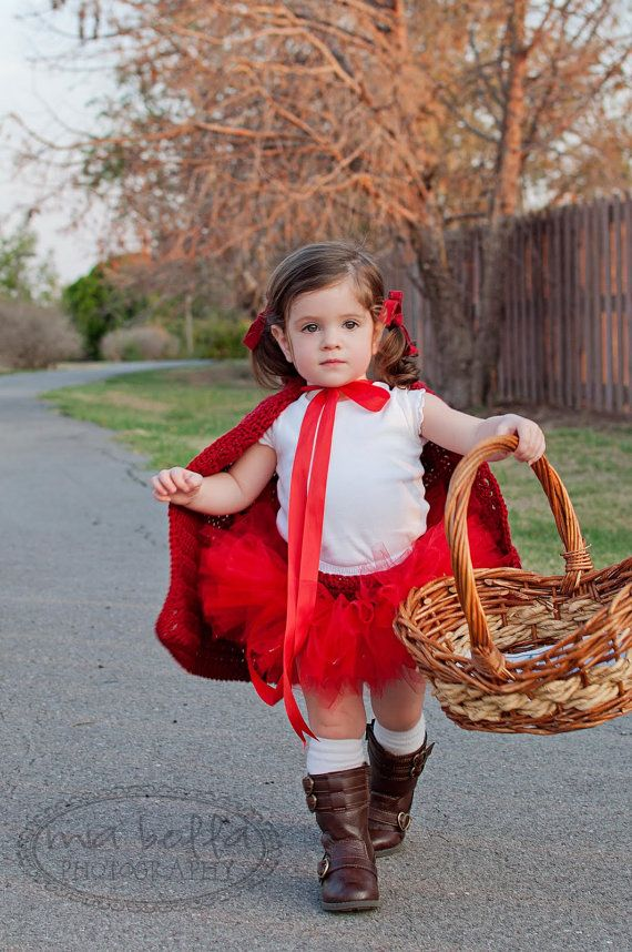 Girls Little Red Riding Hood Costume Cape & Tutu, Halloween Costume, Photography Prop