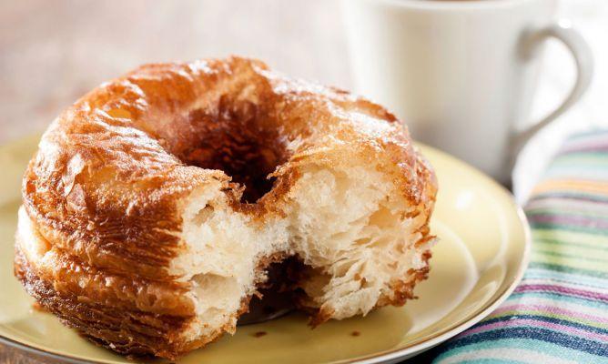 RECETA DE CRONUTS  60 ml de leche 65 ml de agua caliente 6 gr de levadura seca de panadería (medio sobre aproximadamente) 150 gr de mantequilla fría 125 gr de harina de trigo 125 gr de harina de fuerza 30 gr de azúcar glas 1/2 cucharadita de sal Para decorar: azúcar avainillado crema pastelera para rellenar (opcional) http://www.hogarutil.com/cocina/recetas/postres/201310/cronuts-caseros-mezcla-croissant-berlina-21775.html