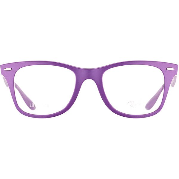 Ray-Ban RX 7034 5443 Matte Violet Wayfarer Plastic Eyeglasses-52mm ($101) ❤ liked on Polyvore featuring accessories, eyewear, eyeglasses, purple, blue glasses, matte glasses, purple glasses, wayfarer glasses and ray ban eyeglasses
