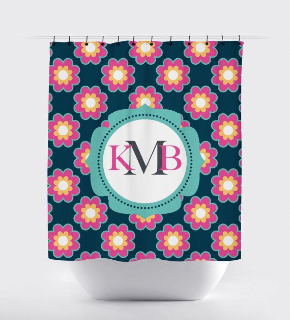 pink, teal and navy flower monogram shower curtain, customized, high quality fabric shower curtain