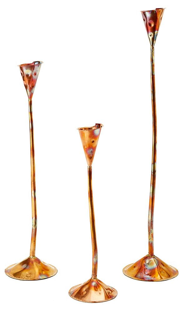 One Kings Lane - Brands We Love - Asst. of 3 Artesano Copper Candlesticks